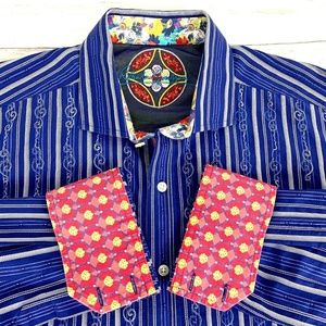 Robert Graham Mens Embroidered L/S Shirt Flip Cuff